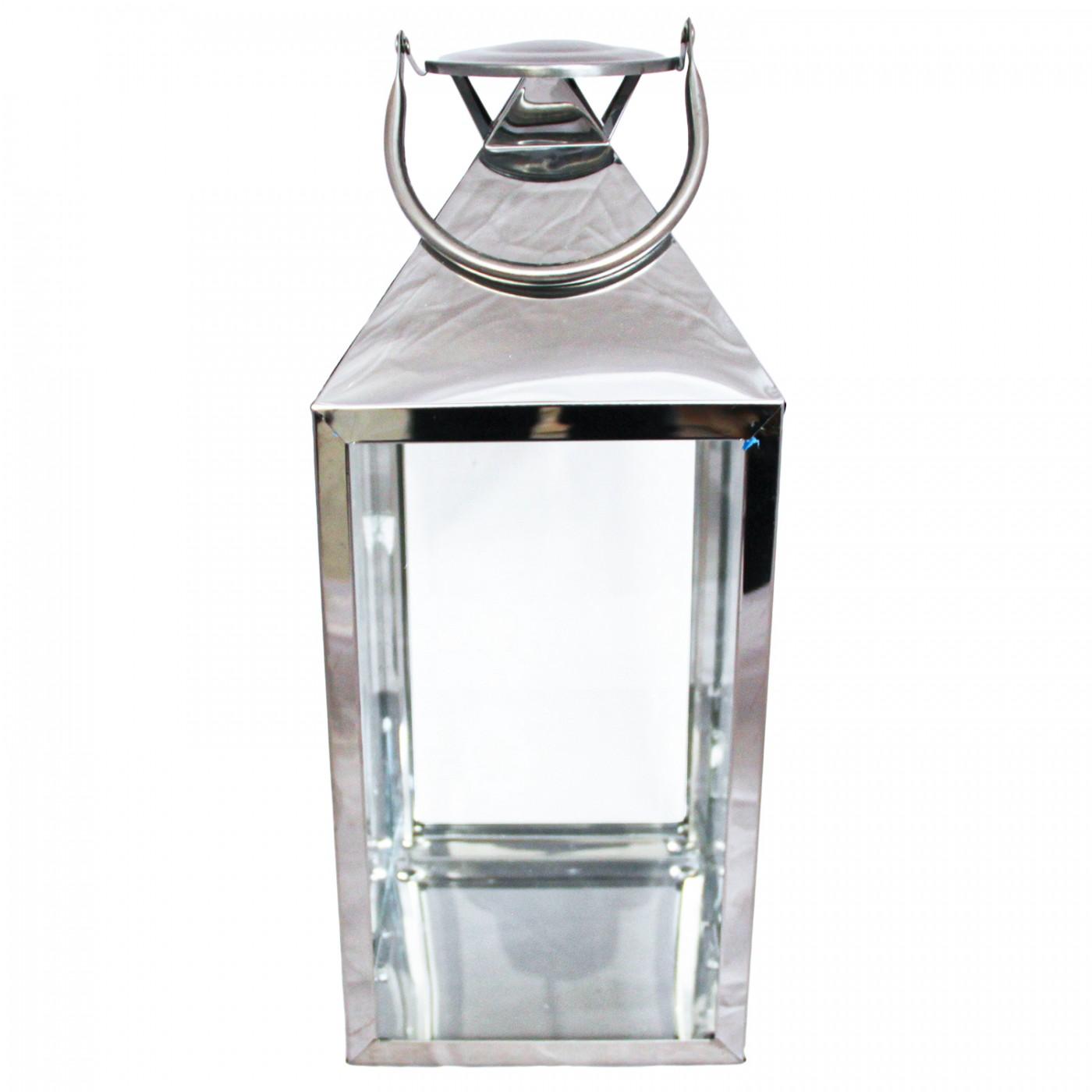 Lampion latarenka metalowa srebrna świecznik - 35 cm