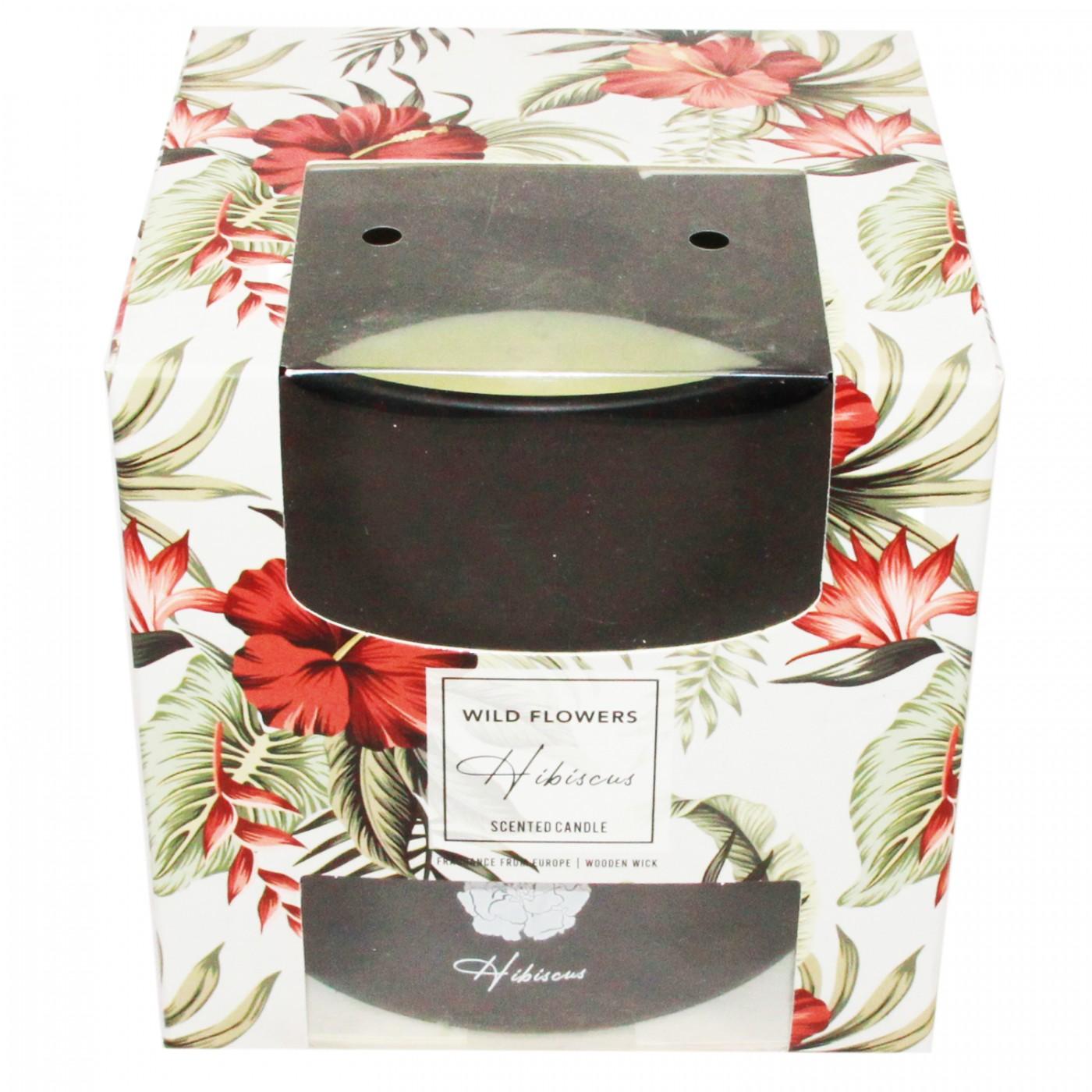 Świeca świeczka zapachowa z drewnianym knotem Hibiskus