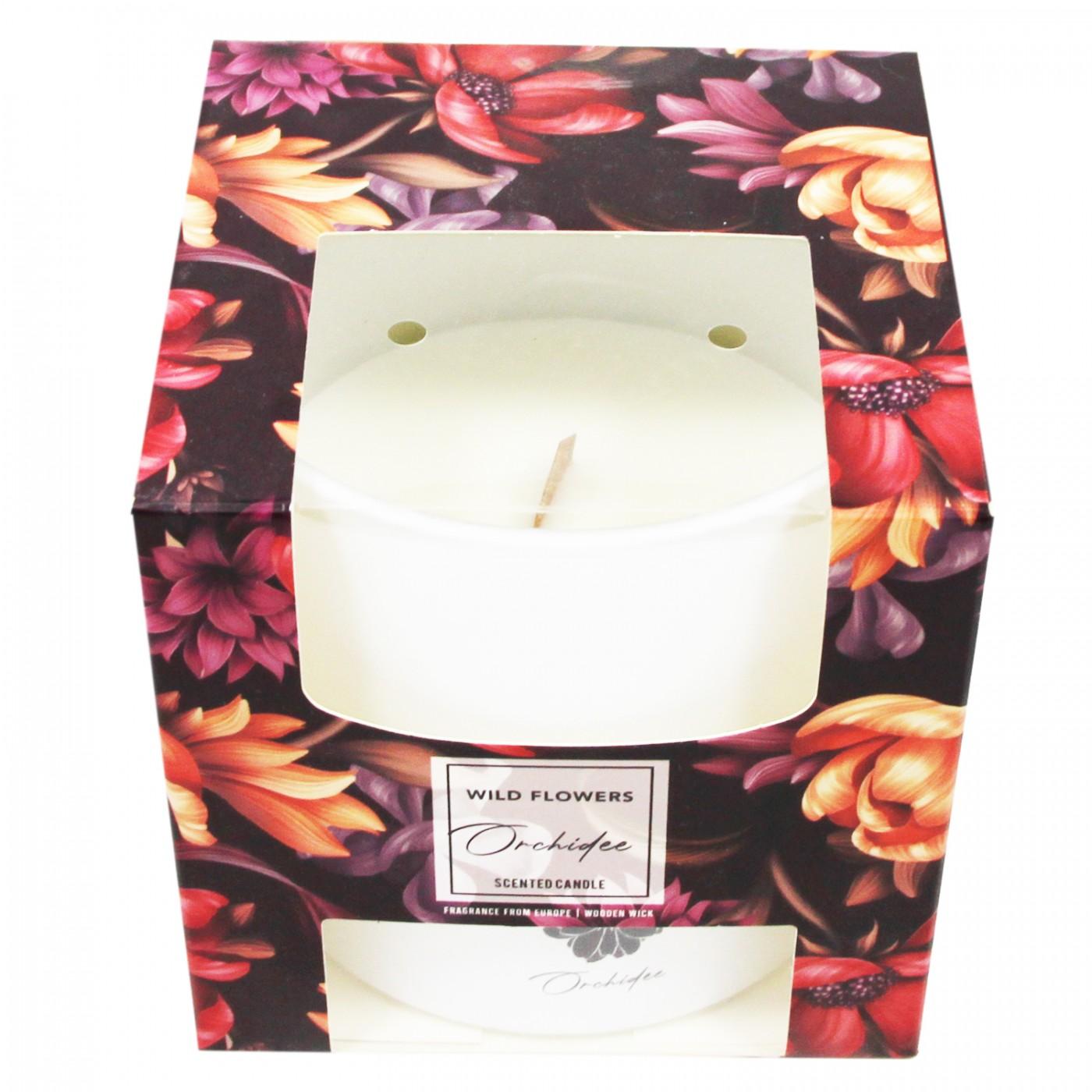 Świeca świeczka zapachowa z drewnianym knotem Orchidea