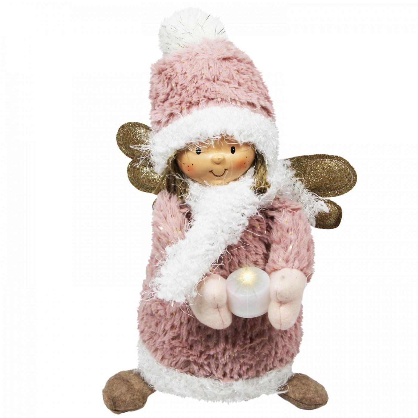 Figurka świąteczna aniołek ze świeczką - lampka led