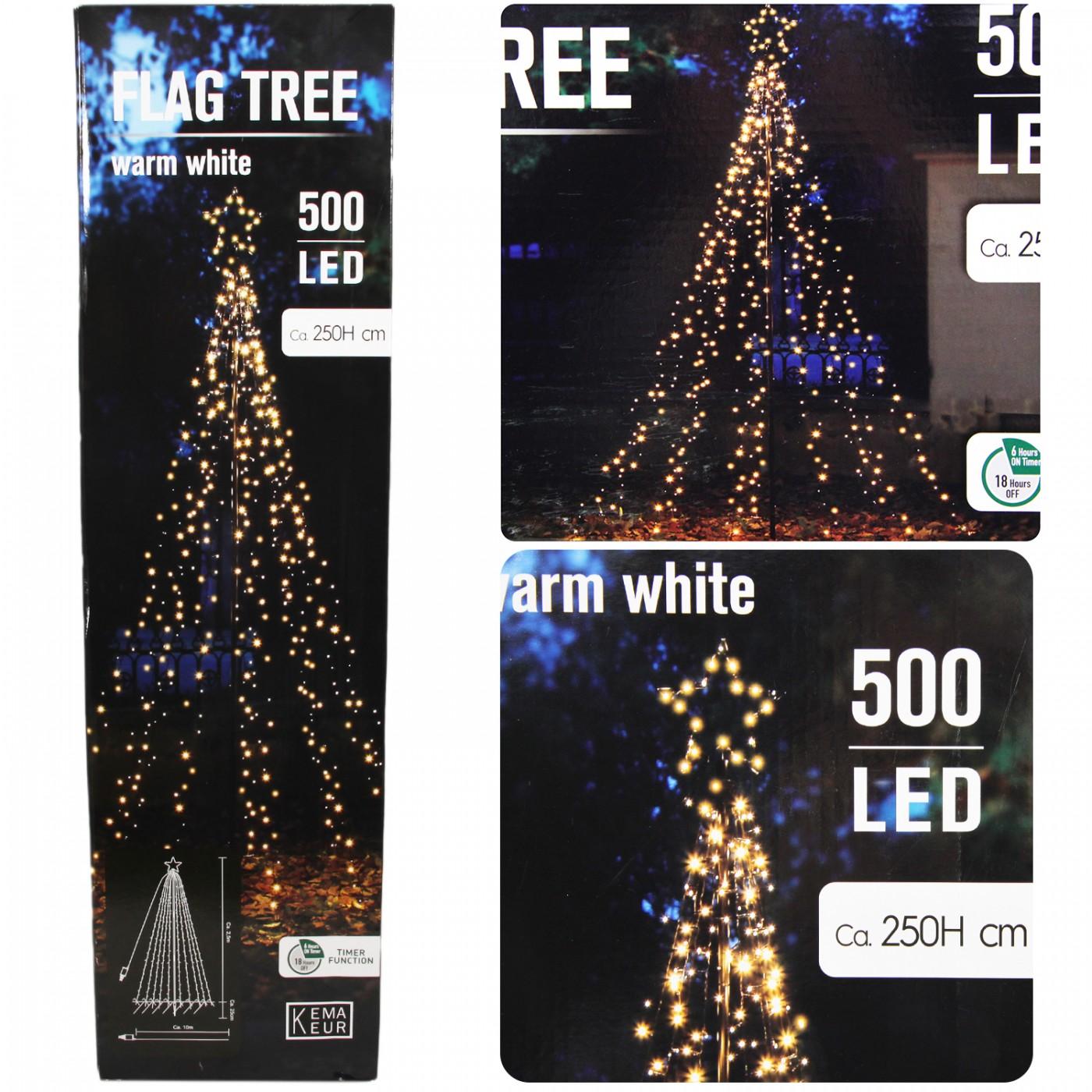 Choinka metalowa z lampkami timer 500 LED 2,5 m