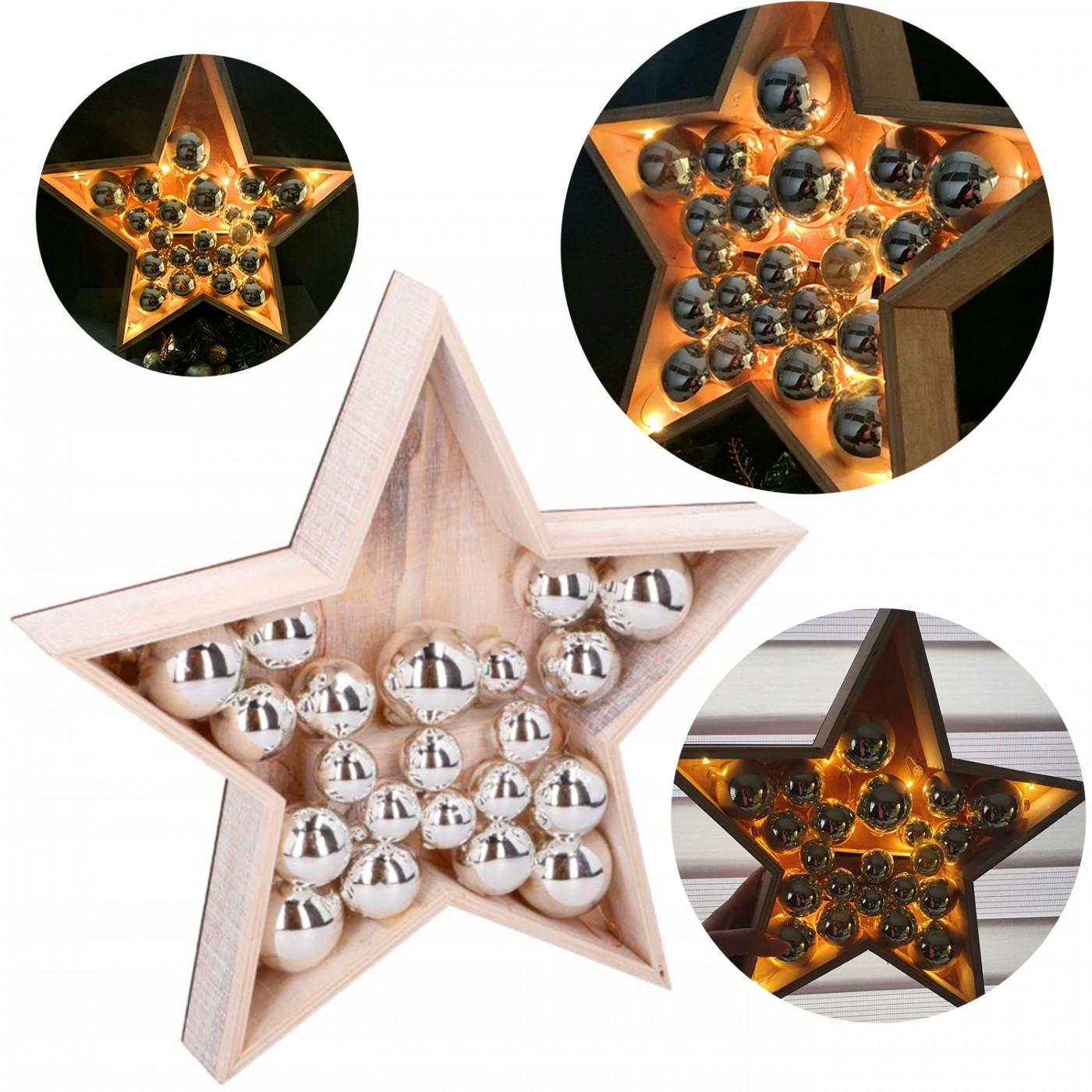 Gwiazda dekoracyjna drewniana z lampkami LED i bombkami