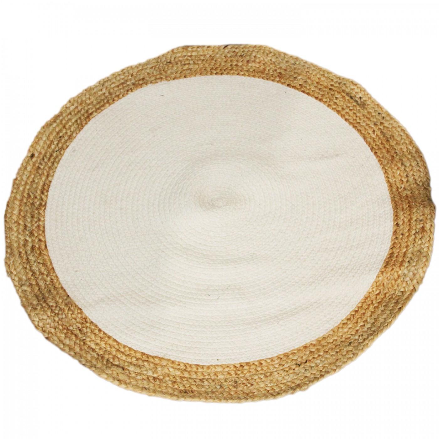 Dywan z juty jutowy pleciony okrągły mały biały