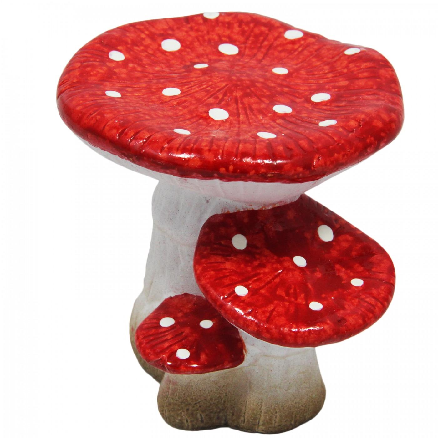 Figurka ozdobna grzybek z terakoty - mała dekoracja jesienna