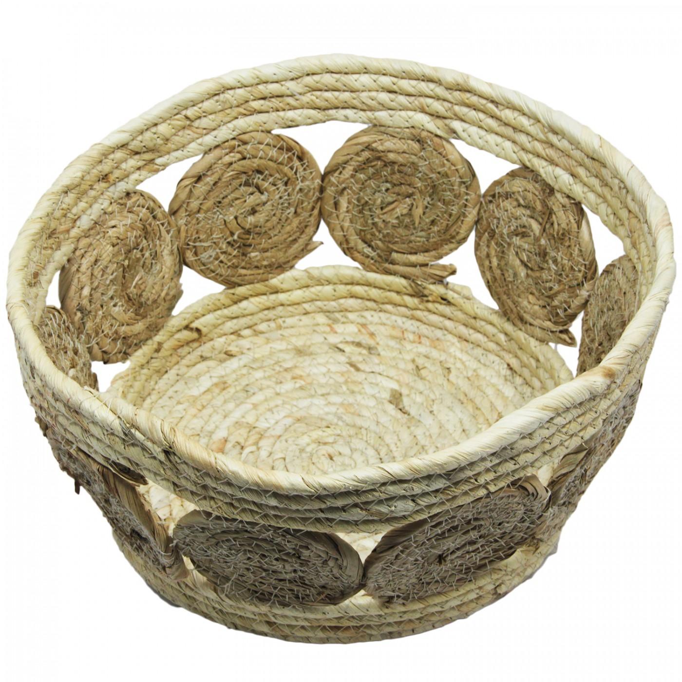 Kosz pleciony boho jutowy rustykalny - donica osłona pojemnik - średni