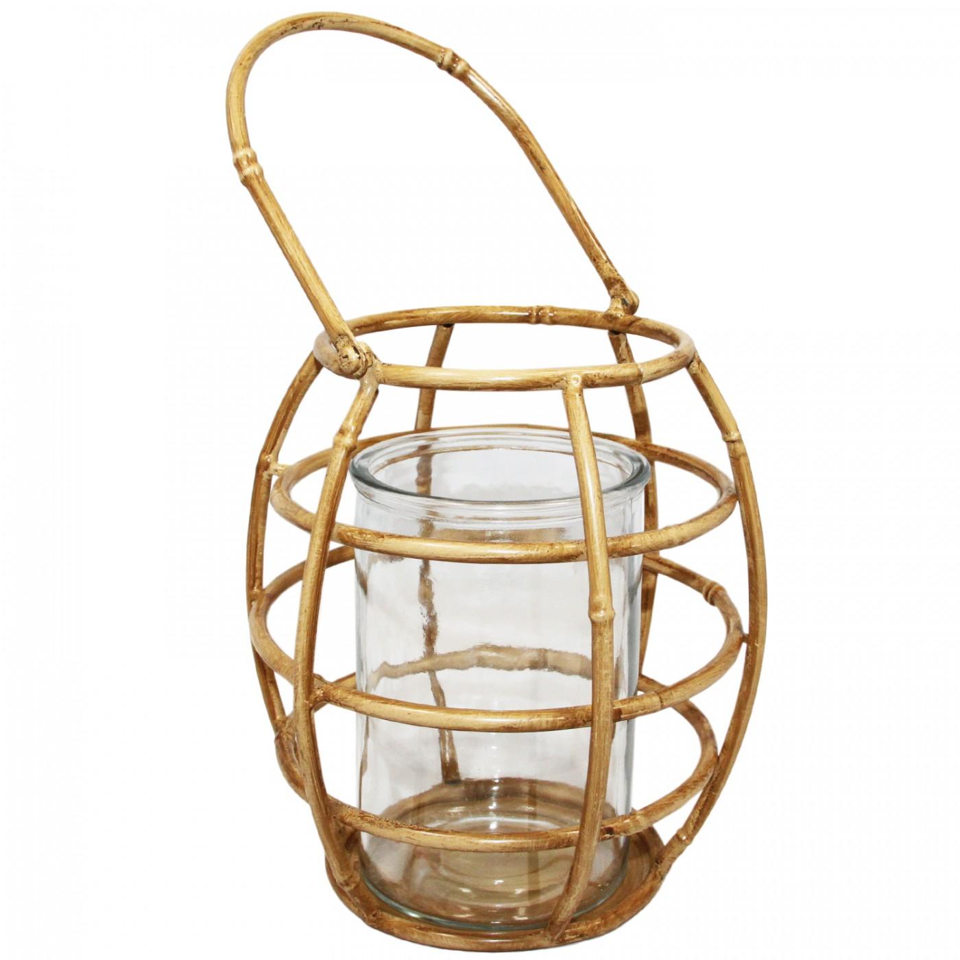 Lampion latarenka metalowa boho bambus - uchwyt