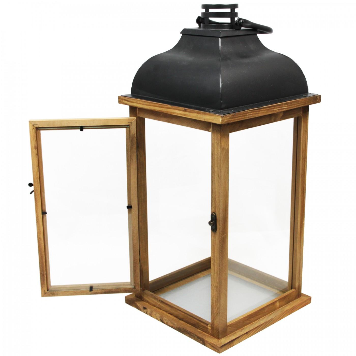 Lampion latarenka drewniana duża z uchwytem - boho - skandynawska