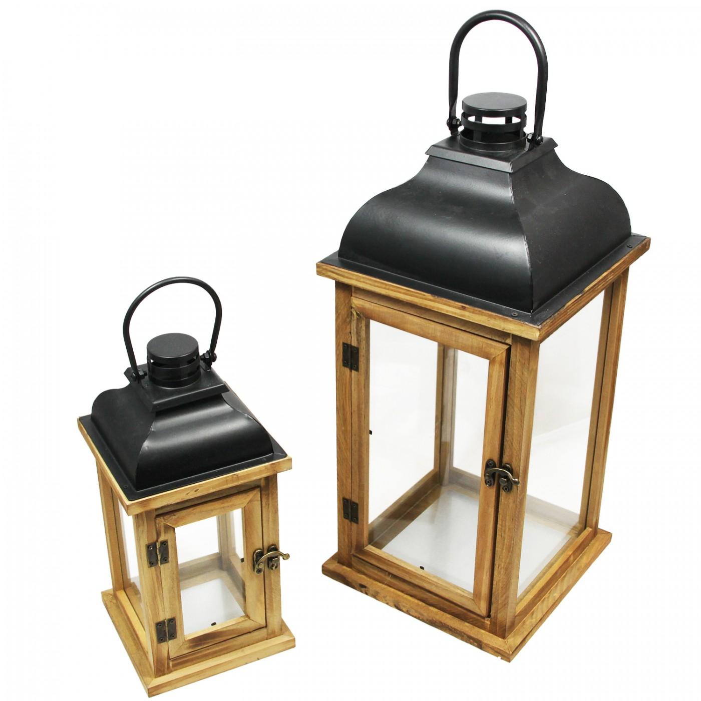 Zestaw Lampion latarenka drewniana mała i duża z uchwytem - boho - skandynawska