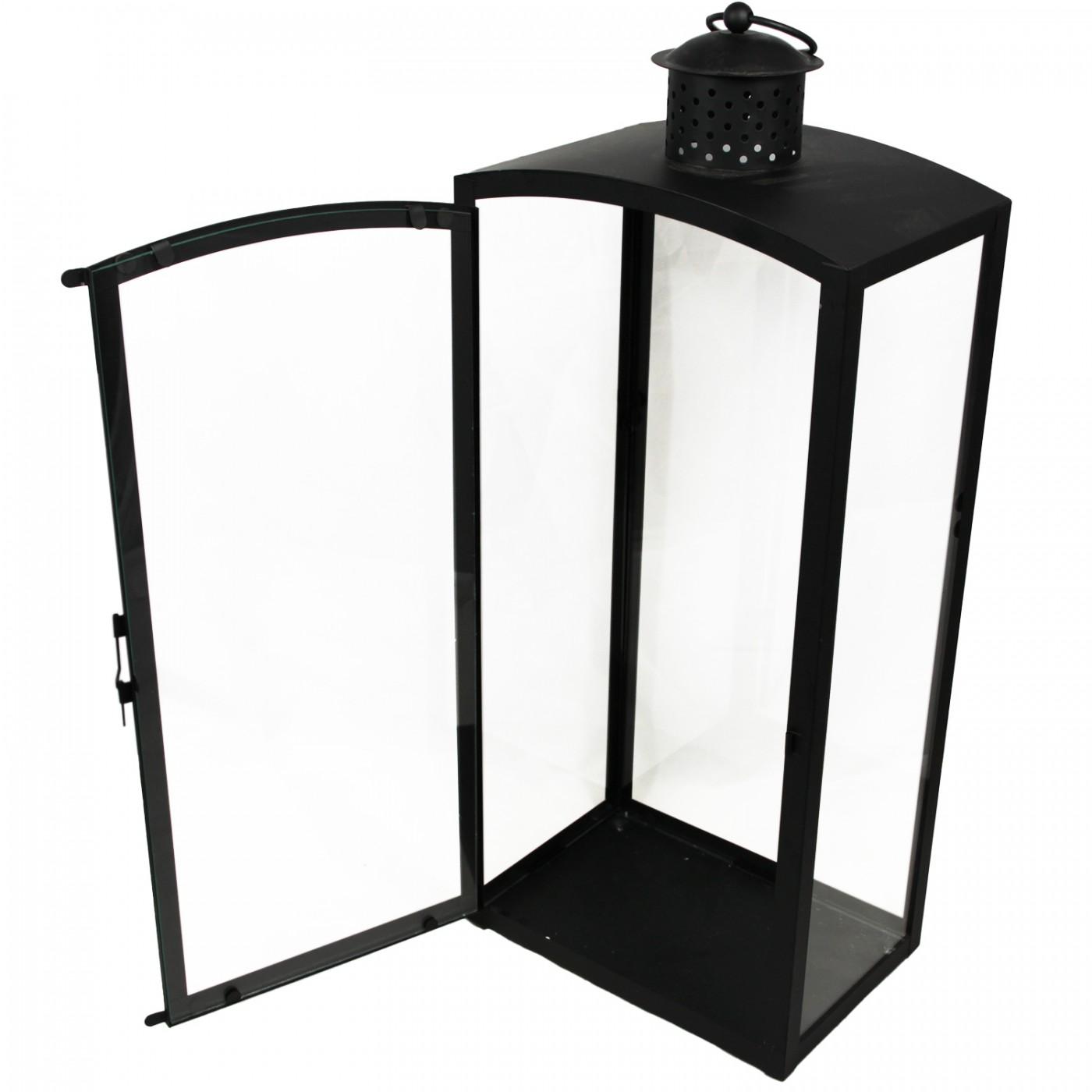 Lampion metalowy latarenka czarna szklana 60 cm