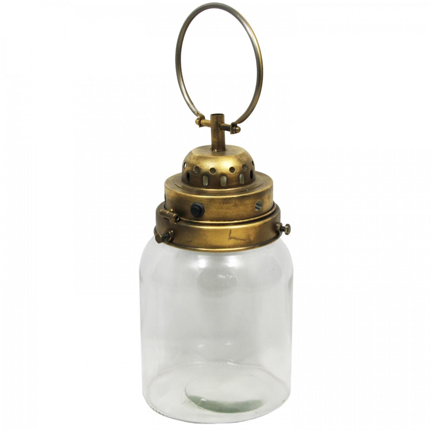 Lampion metalowy szklany słoik terarium wazon
