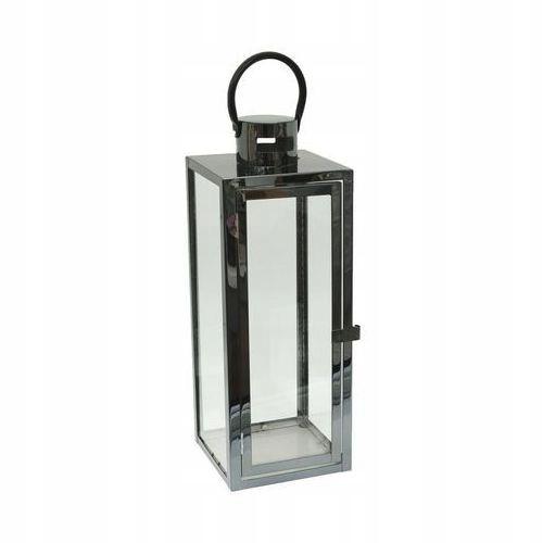 Lampion metalowy latarenka czarna szklana z zawieszką 52 cm