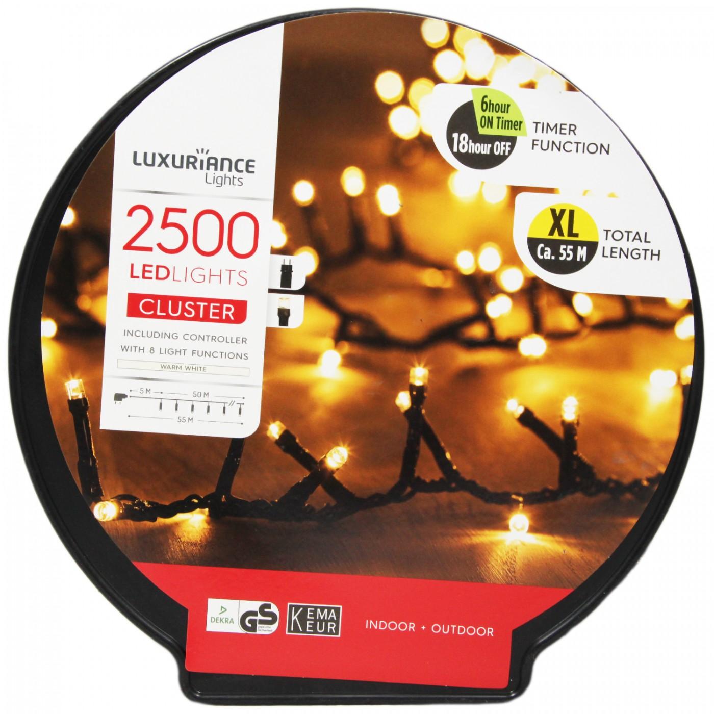 Lampki światełka choinkowe świąteczne białe - 55 m - 2500 LED