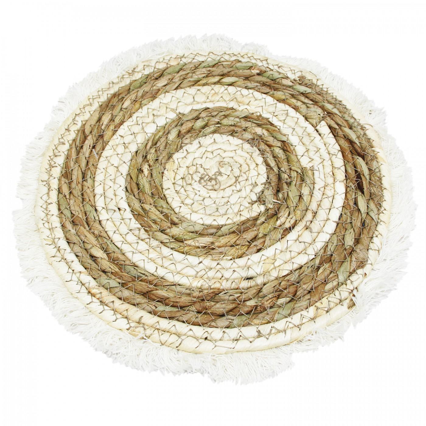 Pleciona okrągła podkładka boho z frędzlami