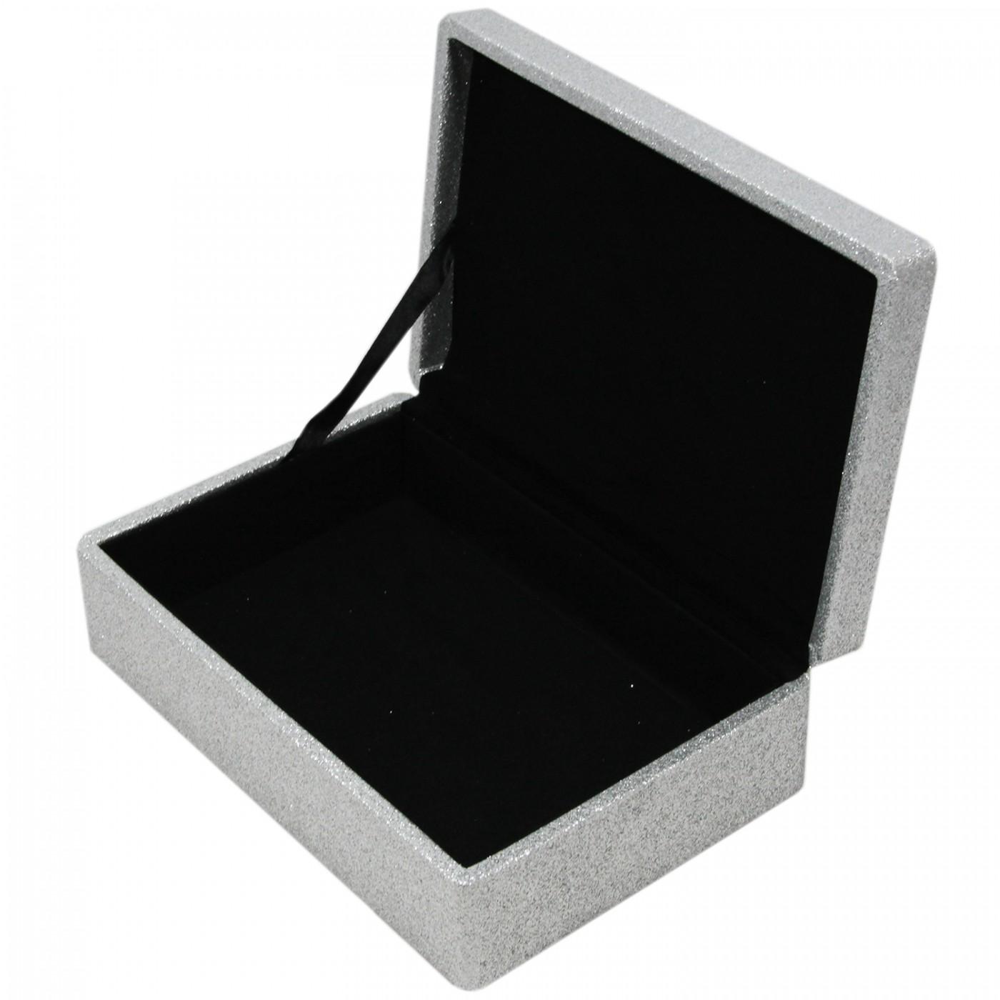 Szkatułka pudełko na prezent drobiazgi brokatowa szara