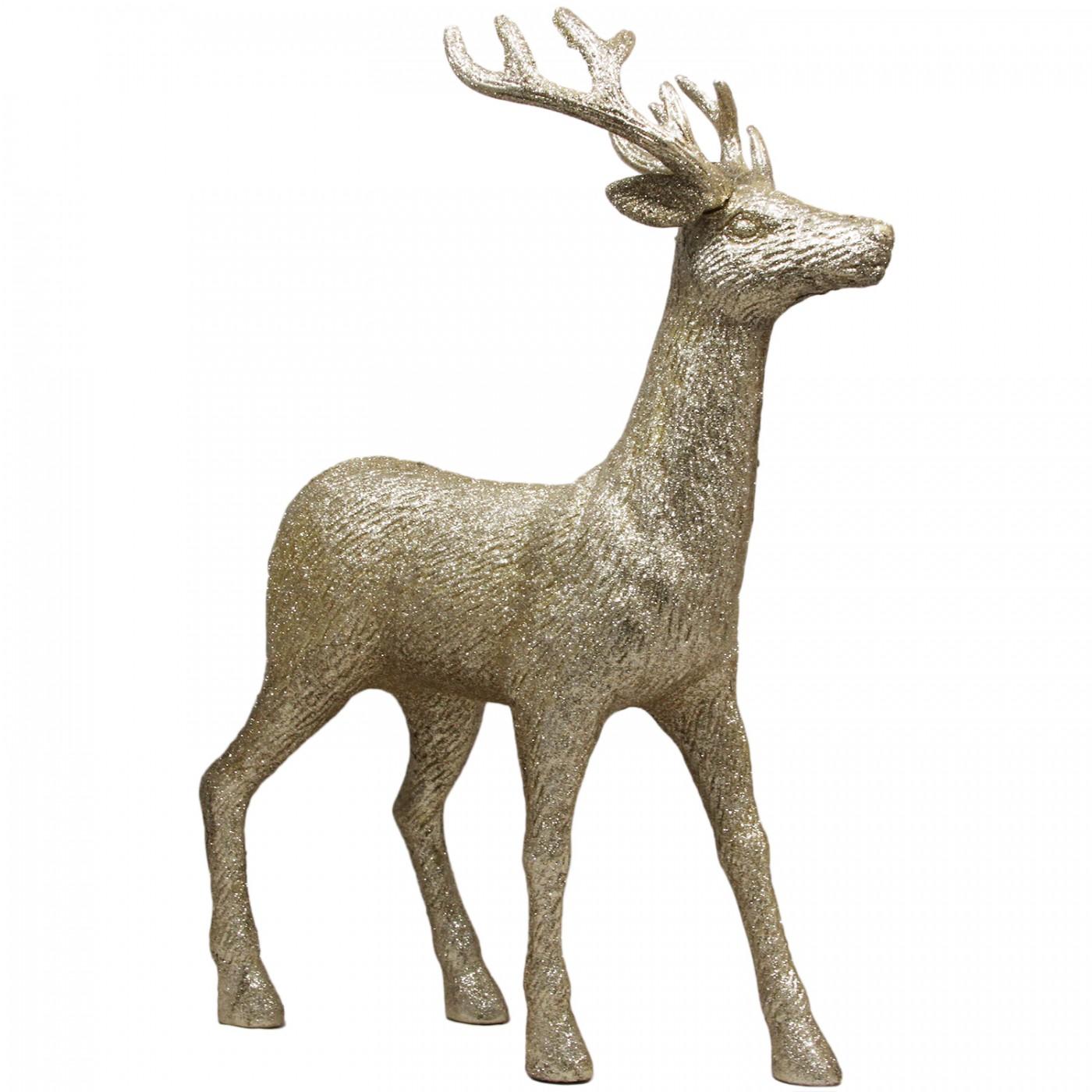Figurka ozdobna Renifer świąteczna złota - duża