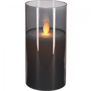 Świeca ruchomy płomień szkło 7,5 x 10cm srebrna