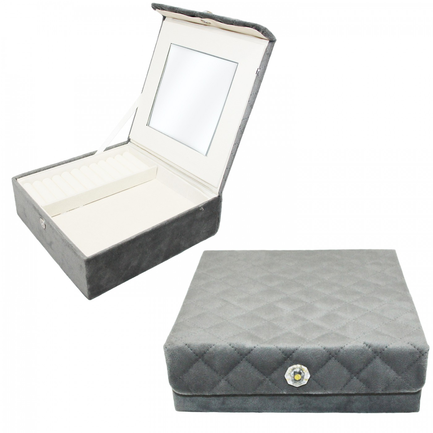 Szkatułka schowek na biżuterię - welurowa pikowana