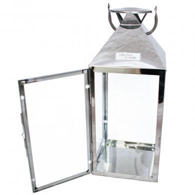 Lampion latarenka metalowa srebrna świecznik - 45 cm