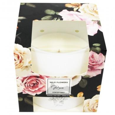 Świeca świeczka zapachowa z drewnianym knotem Róża