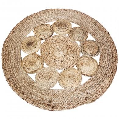 Dywan z juty jutowy okrągły mały wzór kółka