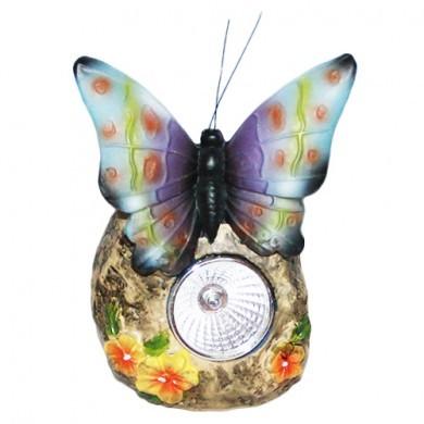 Figurka solarna kwiat z motylem