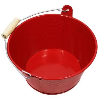 Wiaderko cynkowe - doniczka - 20x11 cm - czerwona