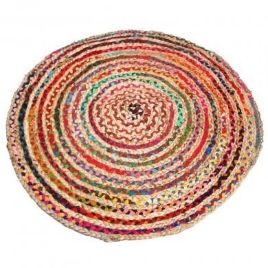 Dywan z juty 95cm dwustronny kolorowy