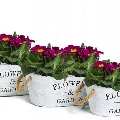 Osłona na doniczki biała FLOWERS & GARDEN