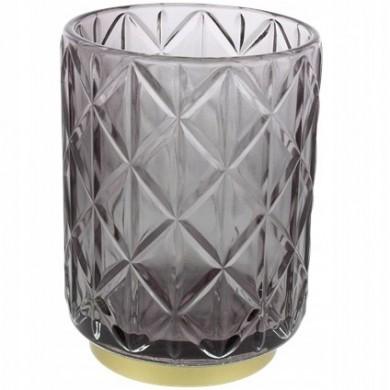 Szklany świecznik - Szary