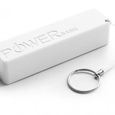 Powerbank biały - biały breloczek