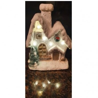 Figurka ceramiczna - Domek - LED