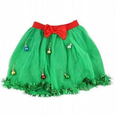 Spódnica świąteczna z bombkami - Tiulowa