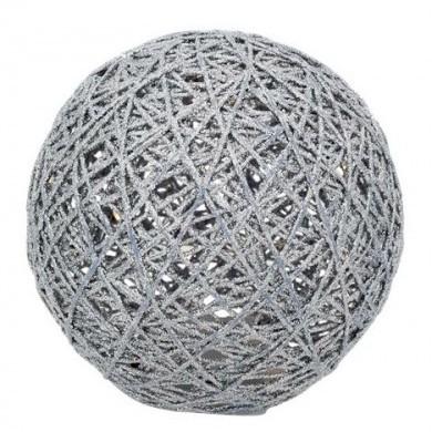 Kula brokatowa srebrna LED