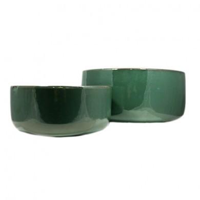 Donica zielona okrągła - Zestaw 2 sztuki