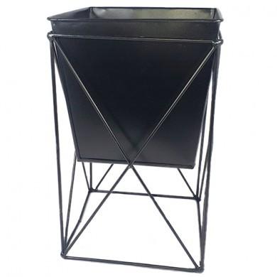 Doniczka druciana czarna - Kwadrat - Loft