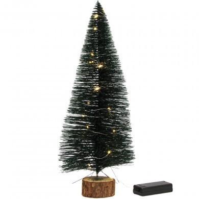 Choinka LED na drewnianej podstawce - Zielona