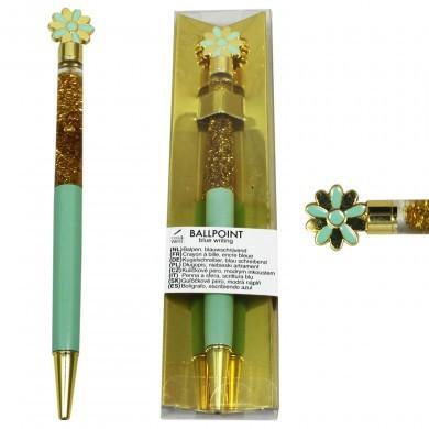 Długopis z dodatkiem - płynny brokat - elegancki - kwiatek