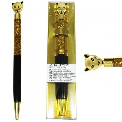 Długopis z dodatkiem - płynny brokat - elegancki - tygrys