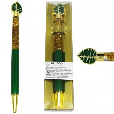 Długopis z dodatkiem - płynny brokat - elegancki - liść