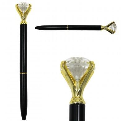 Długopis z diamentem elegancki szykowny - glamour - czarno-złoty