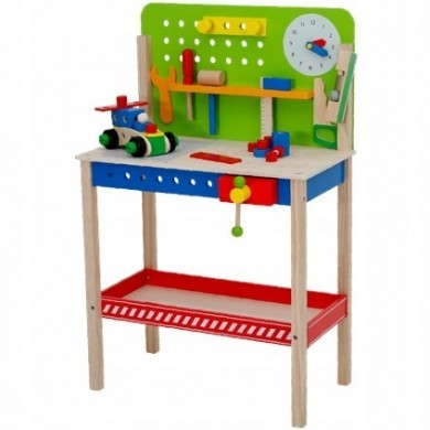 Drewniany stół majsterkowicza + narzędzia