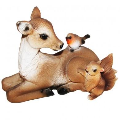 Figurka ozdobna dekoracja sarenka z ptaszkiem oraz wiewiórką