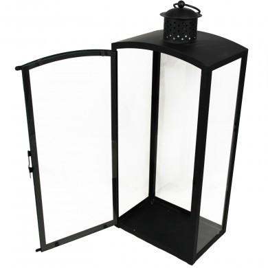 Lampion metalowy latarenka czarna szklana z zawieszką 60 cm