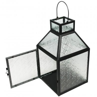 Lampion latarenka metalowa czarna - szklany wzór - 40 cm
