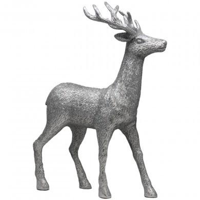 Figurka ozdobna Renifer świąteczna srebrna - duża