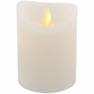 Świeca z ruchomym płomieniem 7,5 x 15 cm biała