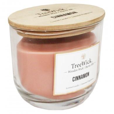 Świeca świeczka z drewnianym knotem Cinnamon glamour