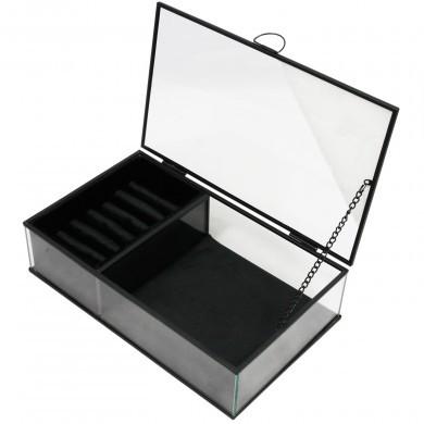Szkatułka na biżuterię szklana elegancka - welur