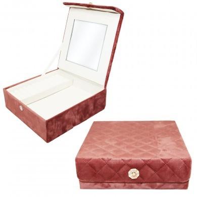Szkatułka na biżuterię welurowa pikowana