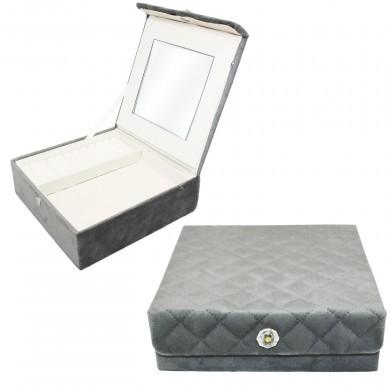 Szkatułka na biżuterię - welurowa pikowana